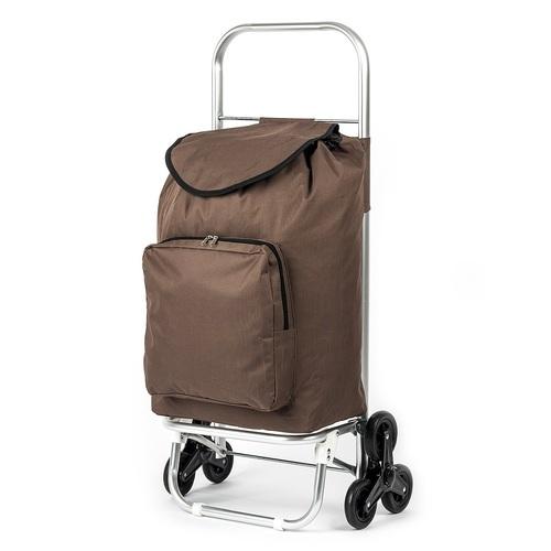 Nákupní taška s kolečky do schodů Milano hnědá