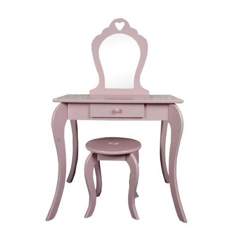 ALDOTRADE Dětský kosmetický stolek se zrcadlem a taburetem